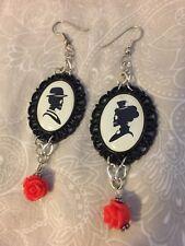 Goth Roses Steampunk Halloween Earrings Handmade Skull Cameo