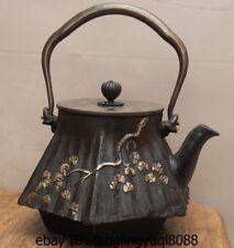 Archaic Japanese Iron Silver Gilt Pine Tree Portable Flagon Kettle Wine Tea Pot