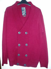 Mens River Island Size M Dark Red Button Cardigan With Pockets
