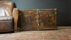 Vintage English Handmade Bridle Leather Steamer Trunk - Antique Leather Trunk