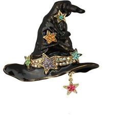 Kirks Folly Wishing Stars Large Witch Hat Pin/Pendant-Goldtone/Black+Necklace