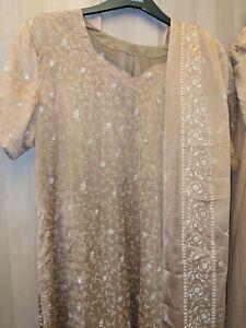 Bollywood Designer Salwar Kameez Size XXL Punjabi Suit Light Caramel