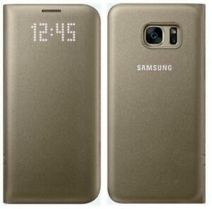 Samsung Galaxy S7 Edge LED View Flip Wallet Case / Cover - Gold - New