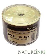 50 Traxdata Ritek Full Face Silver Printable Blank DVD-R 16x DVD Discs 4.7GB