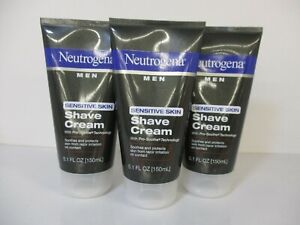 3 Neutrogena Men Sensitive Skin Shave Cream 5.1 Fl Oz Each Exp 1/23 JL13334
