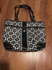 COACH Heritage Chelsea Black White Gray Signature Stripe Tote Purse Bag F15137