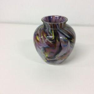 Murano style Vase Multi coloured swirl pattern circa 1970's 15 cm high #404