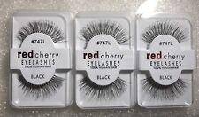New In Box /Lot of 3/ 100% Human Hair #747L Red Cherry False Eyelashes Black