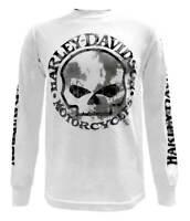 Harley-Davidson Men's Shirt, Willie G Skull Long Sleeve Tee, White 30296646