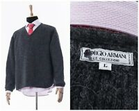 Vintage Mens GIORGIO ARMANI Sweater Jumper V-Neck Alpaca Wool Grey Size 2XL XXL