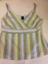 GAP Green Ladies Striped Strap Top Zip 100% Cotton Fully Lined Size Medium M