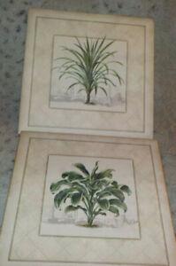 """Pair of Dracaena palm art prints by Arts Uniq', 2000, 10"""" x 10"""" square"""