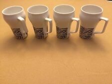 MANN MADE MUGS WITH HANDLE WHITE & BLACK DESIGN SET OF 4 MADE IN JAPAN NEW
