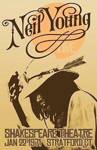 Vintage Neil Young 1971 Concert Band Rock Print Poster Wall Art Picture A4 +