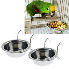 2 Pcs Bird Parrot Feeding Cup Hanging Bowl Stainless Steel Cage Accessories