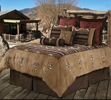 5 piece Western Bed Set Santa Fe tapestry and micro suede w embroidered crosses