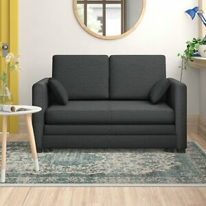 NEW - 2-Seater Fold Out Sofa Bed Foam Padding Compact Wood Frame Black Fabric