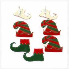 Brads - Bulk - Elf hats and shoes Christmas santa - pk of 15 - scrapbooking