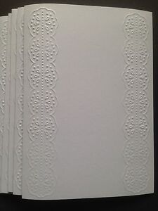 5 Blank A6 White Embossed Cards & Envelopes - Floral Lace Panels