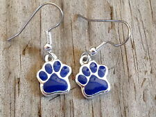 Small Navy Blue Dog Cat Tiger Paw Print Imitation Rhodium Enameled Earrings