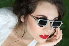 industrial round silver metal sunglasses stainless steel Goth Steampunk Hi Tek