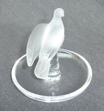 Vintage Lalique France Frosted Crystal Charis Dove Bird Jewelry Dish Signed