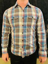American Eagle Outfitters Blue Plaid Button-down Long Sleeve Sz S/P