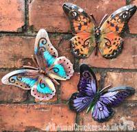 Set 3 bright 16cm Metal Butterflies garden decoration wall art butterfly lover