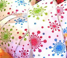 "5 Yards Ribbon pink blue green snowflakes stars gift bows DIY 2 1/2"" wide wired"