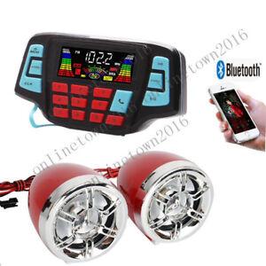 Waterproof Bluetooth Stereo Speakers Audio System MP3 Radio Kawasaki Can AM ATV