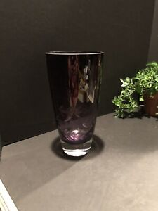"Krosno, Poland Purple Art Glass Vase With Etched Leaves 9 7/8"" Tall"