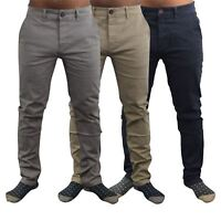 Mens Chinos Trousers Crosshatch Slim Fit Tampered Casual Bottom
