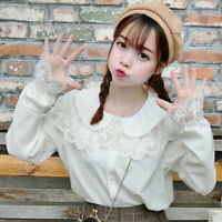Lady Girl Sweet Lolita Shirt Top Lace Chiffon Peter Pan Collar White Blouse Soft