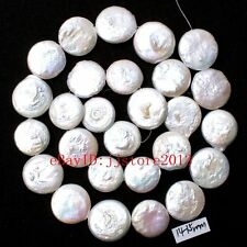 """14-15mm Natural White Freshwater pearl Coin Shape Gemstone Loose Beads Strand15"""""""