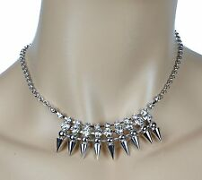 Spike and Stone Wire Necklace Pendant Punk Gothic Steampunk Rockabilly Cosplay