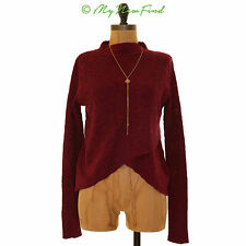 FREE PEOPLE BOHO WRAP SWEATER MOCK NECK L/S CROSSOVER KNIT TOP BURGUNDY XS B56