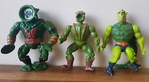 Masters Of The Universe Action Figures x3 MOTU Leech Whiplash Kobra Khan Vintage