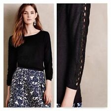 ANTHROPOLOGIE NWT Lace-Sleeve Pullover Sweater Crochet Detail Black Sz S $88