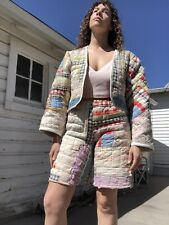New listing vintage patchwork quilt reworked into handmade matching cropped jacket & shorts