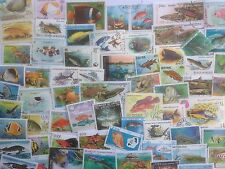 200 Different Fish/Sea Life on Stamps Collection