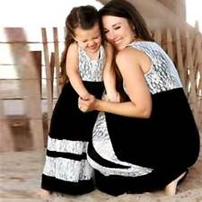 Mother and Daughter Casual Boho Stripe Maxi Dress Mommy&Me Matching Set Outfits