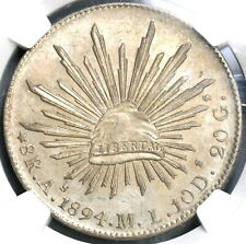 1894-As NGC MS 62 Mexico 8 Reales Coin Scarce Alamos Silver Coin (19061501C)