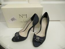 No 1 Jenny Packham Navy Paloma Glitter peep toe high heel shoes, size 5, bridal