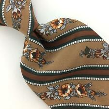 ALDO RICCI MADE IN ITALY TIE GRAY BROWN Gray Floral Silk Necktie IS8-86
