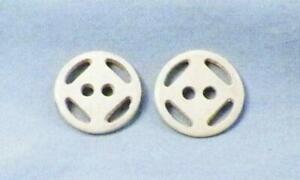 2 Casein Buttons Off White Openwork 2 Sew Thru Holes 1930s Vintage #1