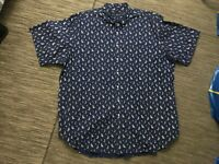 Ralph Lauren Men's 3XLT Tall Button Down Shirt Short Sleeve Boat Print Blue