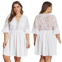 Women V Neck Embroidery Floral White Shirt Dress Summer Midi Swing Skater Dress