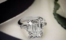 Certified 3ct White Emerald Cut Diamond Engagement Ring Real 14K white Gold