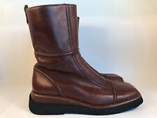 Vintage Womens Frye Avenger Brown Leather Mid-Calf Patchwork Boot Sz 9M