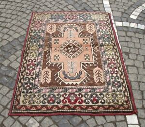 Hand Knotted Old Pers Kilim Rug 3x4 Antique Authentic Bohemian Pink Small Carpet
